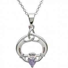 Claddagh Pendant with June Birthstone - Silver