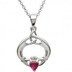 Claddagh Pendant with July Birthstone - Silver