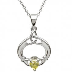 Claddagh Pendant with August Birthstone - Silver