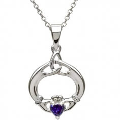 Claddagh Pendant with September Birthstone - Silver