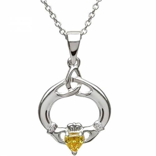 Claddagh Pendant with November Birthstone - Silver