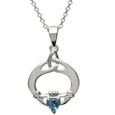 Claddagh Pendant with December Birthstone - Silver