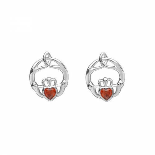 January Birthstone Claddagh Earrings - Silver