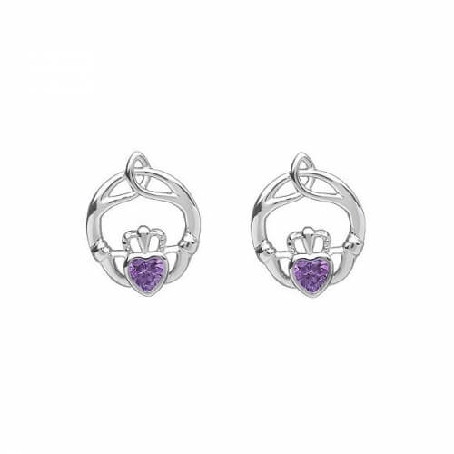 February Claddagh Birthstone Earrings - Silver