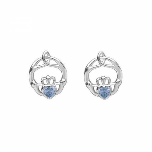 Boucles d'oreilles Claddagh en pierre de naissance de mars - argent
