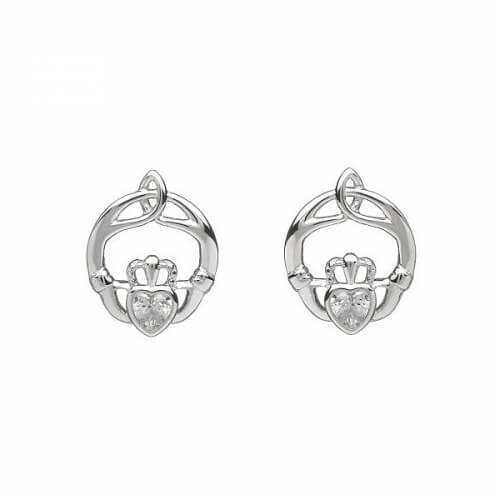 April Birthstone Claddagh Earrings - Silver