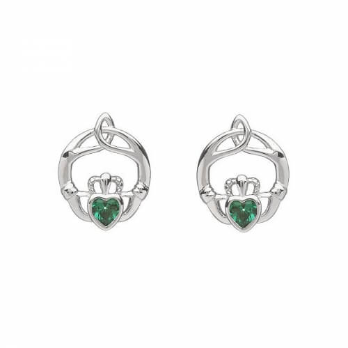 May Birthstone Claddagh Earrings - Silver