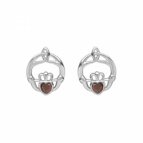 June Birthstone Claddagh Earrings - Silver