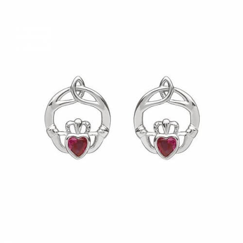 July Birthstone Claddagh Earrings - Silver