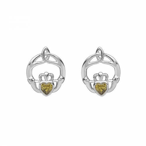 August Birthstone Claddagh Earrings - Silver