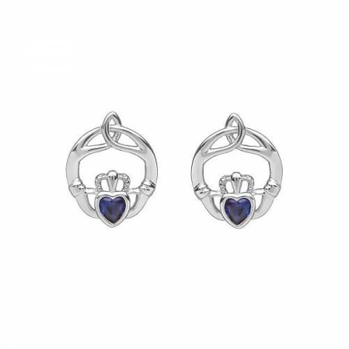 September Birthstone Claddagh Earrings - Silver