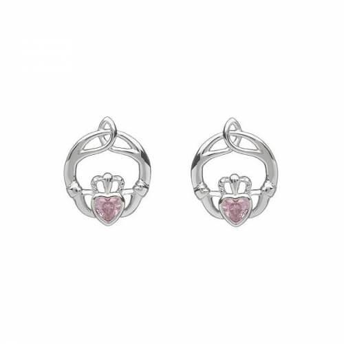 October Birthstone Claddagh Earrings - Silver