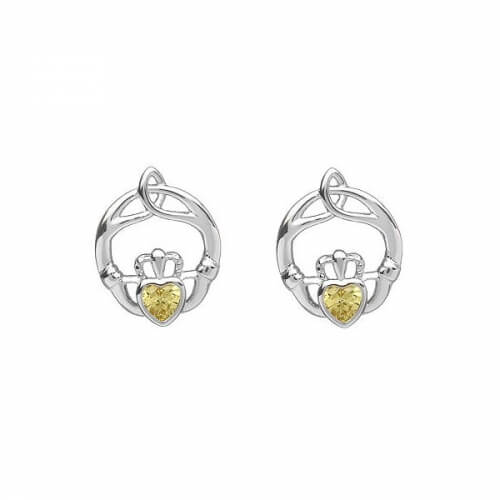November Birthstone Claddagh Earrings - Silver