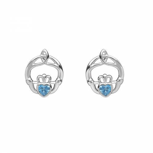 December Birthstone Claddagh Earrings - Silver