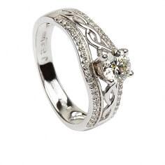 Bague de fiançailles noeud celtique - Or blanc