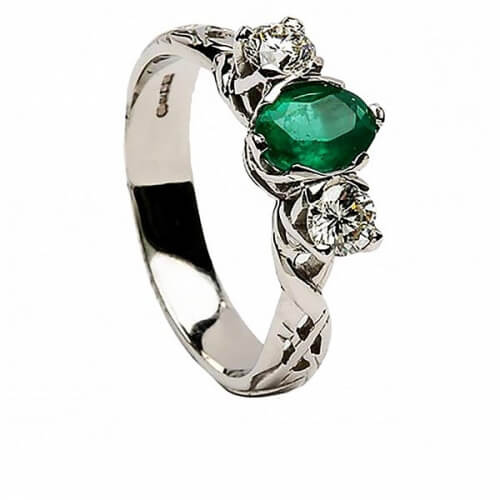 Emerald Celtic Engagement Ring - All White Gold