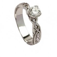 Keltischer Diamant-Verlobungsring - Weißgold