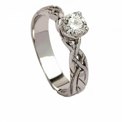 Celtic Diamond Engagement Ring - White Gold
