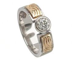 Bague de fiançailles celtique gravée - Diamant 0.50 Carat