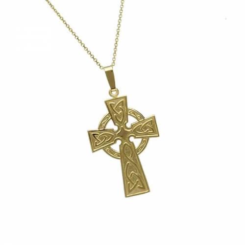 Großes traditionelles keltisches Kreuz - gelbes Gold