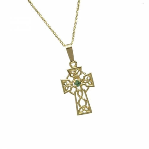 Small Cross with 1 Emerald - Yellow Gold
