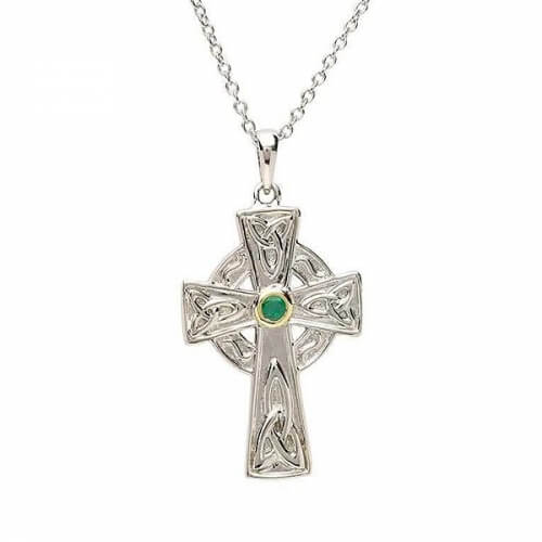 Silver Celtic Cross with Emerald