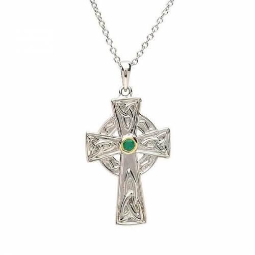 Croix celtique en argent avec émeraude