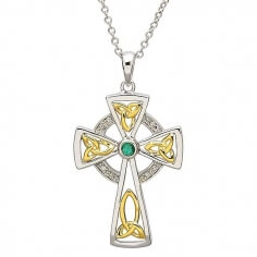 Diamond & Emerald Cross - Silver