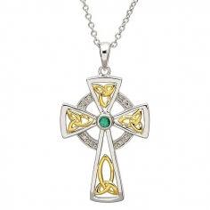 Croix en diamant et émeraude - Argent