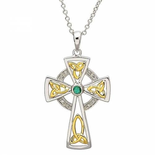 Diamond & Emerald Cross - Silver