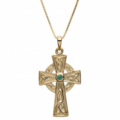Medium Keltisches Kreuz mit 4 Smaragden - Gelbgold