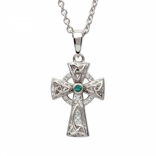 Medium Celtic Cross with 1 Emerald - Silver