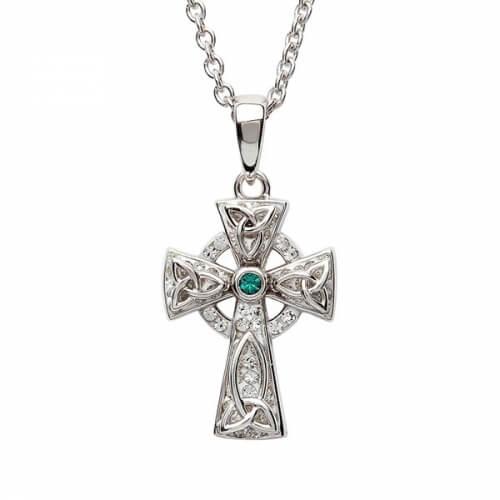 Croix celtique moyenne avec 1 émeraude - argent