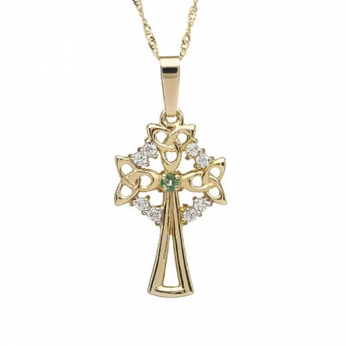 Large Celtic Cross with 1 Emerald - Yellow Gold