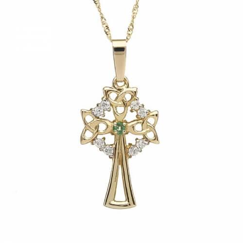 Großes keltisches Kreuz mit 1 Smaragd - Gelbgold