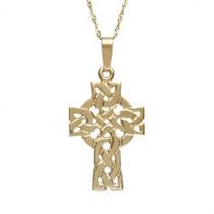 Solides filigranes keltisches Kreuz - Gelbgold