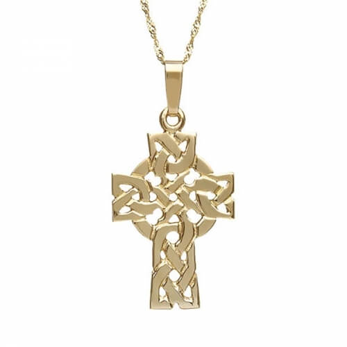 Solid Filigree Celtic Cross - Yellow Gold