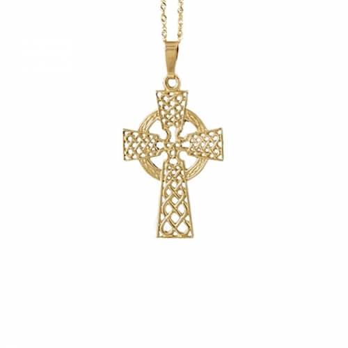 Großes filigranes keltisches Kreuz - gelbes Gold