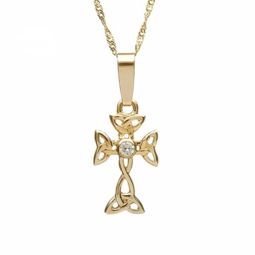 Small Celtic Cross with Diamond - Yellow Gold
