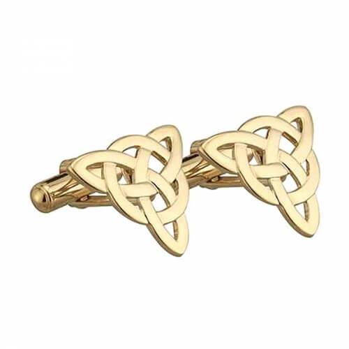 Noeud de Trinité Celtique boutons de manchette - Plaqué or