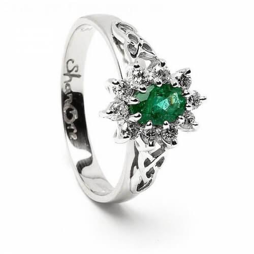 Emerald Diamond Cluster White Gold Ring