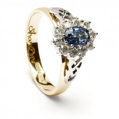 Saphir und Diamant Cluster Ring