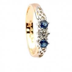 Saphir und Diamant drei Steinring