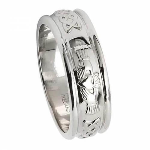Mens Claddagh Silver Wedding Ring