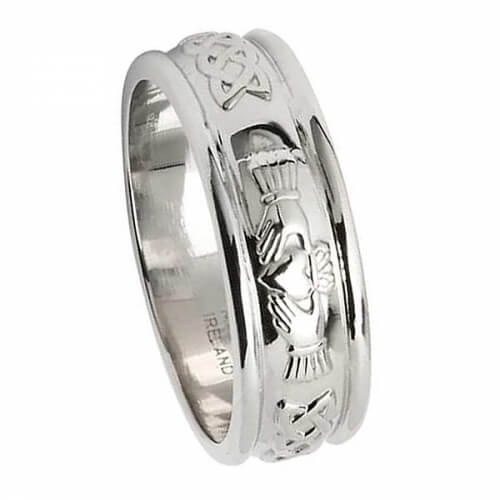 Mens White Gold Claddagh Wedding Ring