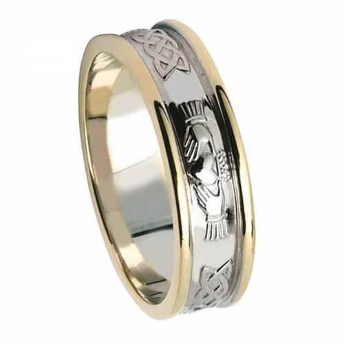 Bague de mariage Claddagh pour femme avec bordure - Or blanc avec bordure en or jaune