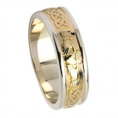 Women's Celtic Claddagh Wedding Ring - Yellow Gold with White Trim