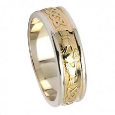 Bague de mariage celtique Claddagh pour femme - Or jaune avec bordure blanche