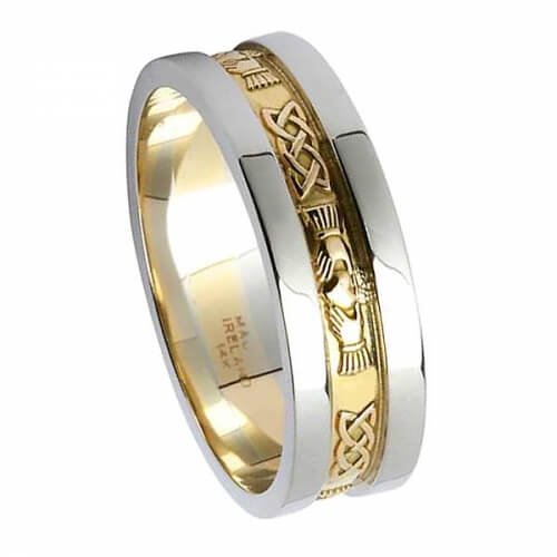 Friendship Ring with Trim - Yellow with White Gold Trim