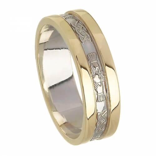 Bague de mariage Claddagh à deux tons - Blanc avec bordure en or jaune